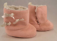 Size 6 months Girls Soft Pink Suede Boots Shoes White Bows Slip on Casual