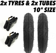 "2 x Pram Tyres & 2 x Tubes 10"" x 2 Quinny Buzz Speedi Huack Roadster 10"""