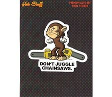 Monkey Juggling Chainsaw Car Sticker - Auto Decal