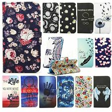 patterned leather wallet phone case flip folio cover Fr Nokia LG Hawei MOTO SONY