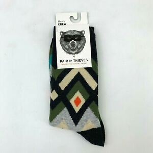 Pair of Thieves Crew Socks Men's Size 8-12 Breathable Moisture Wick Cotton Blend