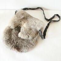 Vintage Handmade Rabbit Fur Pelt Pouch Satchel Bag Purse Renaissance Faire