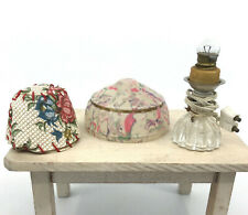 Dollhouse Table Lamp Plastic Wired 1940s Shade x 2 Celluloid Vinyl 2in Germany