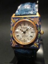 A40 Rare Dufonte by Lucien Piccard Lady Square Genuine Leather Band Dress Watch