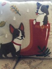 Dog PILLOW by ENVOGUE Crewel Embroidered