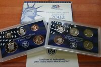 2002 S United States Mint ANNUAL 10 Coin Proof Set Original Box and COA