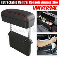 Universal Retractable Car Central Console Armrest Box PU Leather Storage   y z