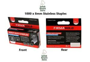 Firmahold Type 140/T50/G Stainless Steel Staples 1000 Pack Choose Size 8mm-12mm