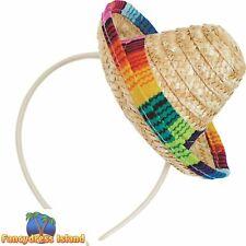 Sombrero Straw Mini Hat on Headband Mexican Spanish Hawaii Fancy Dress Accessory