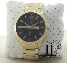New A|X Armani Exchange Men's Classic Black Dial Gold Tone SS Strap Watch AX2122