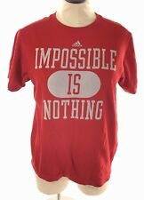 Adidas Womens T Shirt Top Size L Red Varsity Graphic Cotton Short Sleeve Active