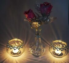 2 Pieces Diamante Tea Light Candle Holder With Vase and Pink Roses Wedding Decor