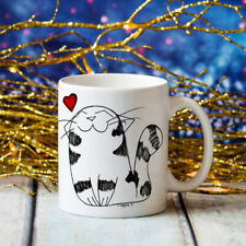 Cute Cat Love Mug Hand Drawn Art Jumbo Big Large 20oz Coffee Cup