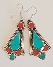VINTAGE Tibetan Silver Turquoise & Coral LUXURY  Boho EARRINGS Nepal DROP DANGLE