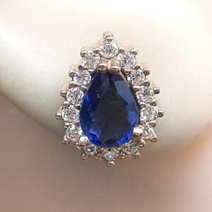 Deco 1.80ctw Sapphire & Diamond Cut Sapphire 14K Yellow Gold 925 Silver Earrings