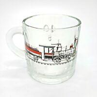 Clear Glass Coffee Tea Cocoa Mug with Steam Locomotive and Coal Car Image