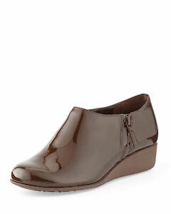 Cole Haan Sz 5.5 Callie Waterproof Brown Patent Leather Rain Shoe Bootie Shootie