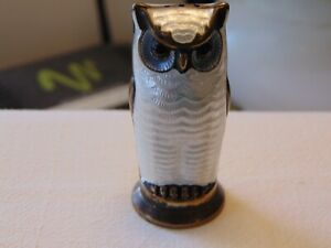 Vtg D-A David Andersen Norway Sterling Guilloche Enamel White Owl Salt Shaker