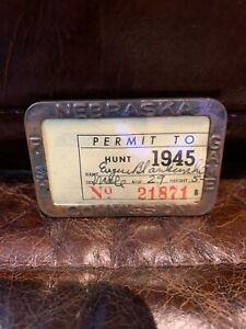 VINTAGE1945 NEBRASKA FISH GAME COMMISSION PERMIT FISH HUNTING BRASS