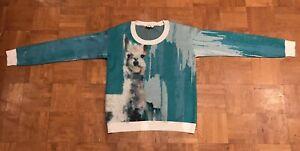 Anthropologie Women's Sweater, Aqua Medium LLAMA Artwork by Lauren C Walcott
