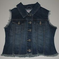 THE CHILDREN'S PLACE 1989 Denim Jean Vest Frayed Faded Girl's XL TCP