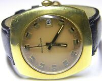 mens Carl F Bucherer Manual Wind Date Rectangle Tank Gold Plated vintage watch