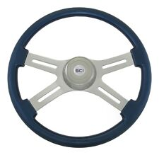 "4 Spoke 18"" Blue Classic Steering Wheel 3-Hole for Freightliner, Peterbilt, KW++"