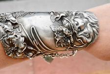 Art Nouveau Goddess Solid Sterling Silver Wide Cuff Bracelet Unger Wonder Woman