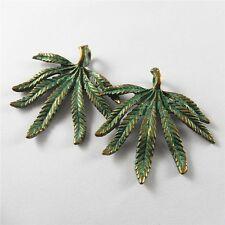 Wholesale 8pcs Antiqued Green Bronze Alloy Leaf Charms Pendant Findings 52308