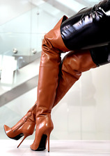 1969 ITALY Designer OVER KNEE THIGH HIGH HEELS OTK T89 TOP LEATHER BOOTS 35