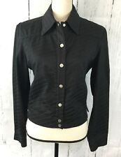 Gianfranco Ferre Jeans Stretch Black Snap Button Jacket Made In Italy- SZ Small