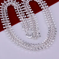 Cool 925Sterling Silver 12MM 18inch Fish Bone Strong Men Chain Necklace N166
