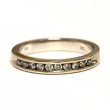 14k white gold .20ct SI3 H round diamond channel wedding band ring 3.4g estate