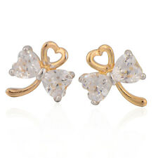 Stud Earrings Beautiful Simulated Diamond Bow with a Gold Heart