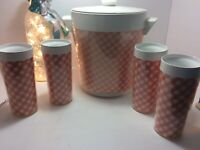 Vintage - Thermo Serv Pink Checkered Ice Chest , Thermos and 4 Tumbler Set.