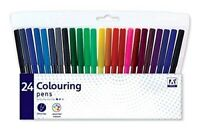 24 Pack Felt Tip Pens Drawing Markers Painting Colouring Art School Watercolour
