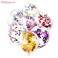 5 pcs 12inch Confetti Balloons Transparent Latex Balloons Birthday Wedding Party
