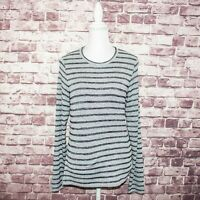 Rag & Bone NY Women's Long Sleeve Crew Neck Top Gray Striped Size Large