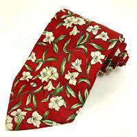 Valentino Mens Tie Red Floral Pattern 100% Silk Necktie Made in Italy