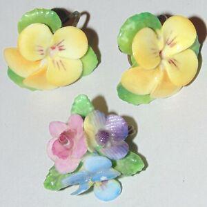 Vintage English bone china flowers floral pansies signed pin, screwback earrings