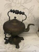 Antique/vintage Brass Kettle With Stand/collectable Metal Teapot Country Kitchen