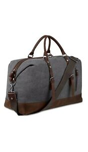 NEW Bluboon Gray Canvas & Leather Overnight Bag Travel Duffel Weekender Tote