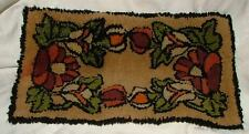 """Antique Small 18"""" x 11"""" Hand Hooked Rug Table Runner LOVELY Colors"""