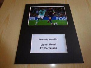 Lionel Leo Messi FC Barcelona mounted photograph original autograph signed COA