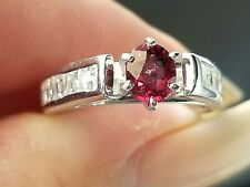 Modern Royal Red Spinel VS Square Cut Diamond 14k white gold ring