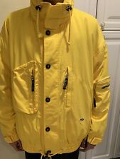BOGNER JACKET COAT YELLOW HOODIE ZIP SNAPE FRONT SKI WATER & WIND RESISTANCE 40