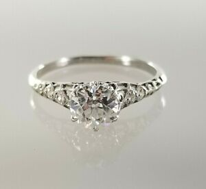 Vintage Engagement Ring in Platinum with Old European Cut Moissanite