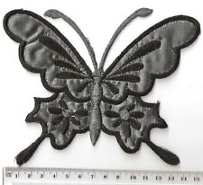 XL BLACK AND SILVER METALIC BUTTERFLY ✿ IRON ON Patch /Motif /Applique.