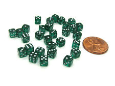 Set of 30 D6 5mm Transparent Rounded Corner Dice - Emerald with White Pips
