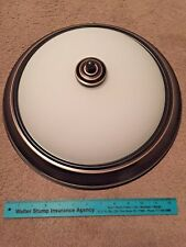 BURNISHED BRONZE Flush Mount Ceiling Light Fixture w/ White Frost Glass Dome